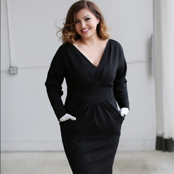 079235c87a Beth Ditto Black Lola Long Sleeve Dress NWT